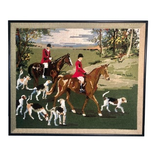 1970s Handcrafted Needlepoint English Riders & Hounds Hunting Scene W/Horses, Framed For Sale