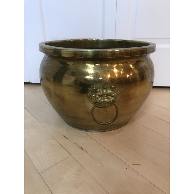 Textured Brass Planter With Foo Foo Dogs For Sale In Chicago - Image 6 of 6