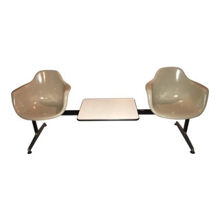 Krueger Eames-Style 2 Pale-Ochre Molded Fiberglas Seats With Middle Table Seating Unit For Sale