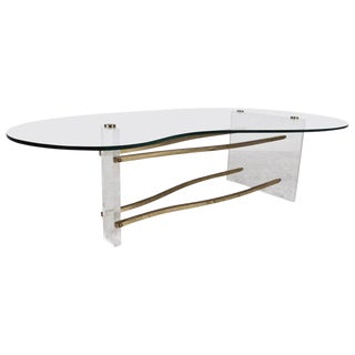 Vintage Modern Charles Hollis Jones Coffee Table in Brass and Lucite For Sale