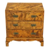 Image of Campaign Style Patch Burl Olive Wood Small Bachelor Chest Dresser Cabinet For Sale