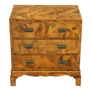 Campaign Style Patch Burl Olive Wood Small Bachelor Chest Dresser Cabinet For Sale