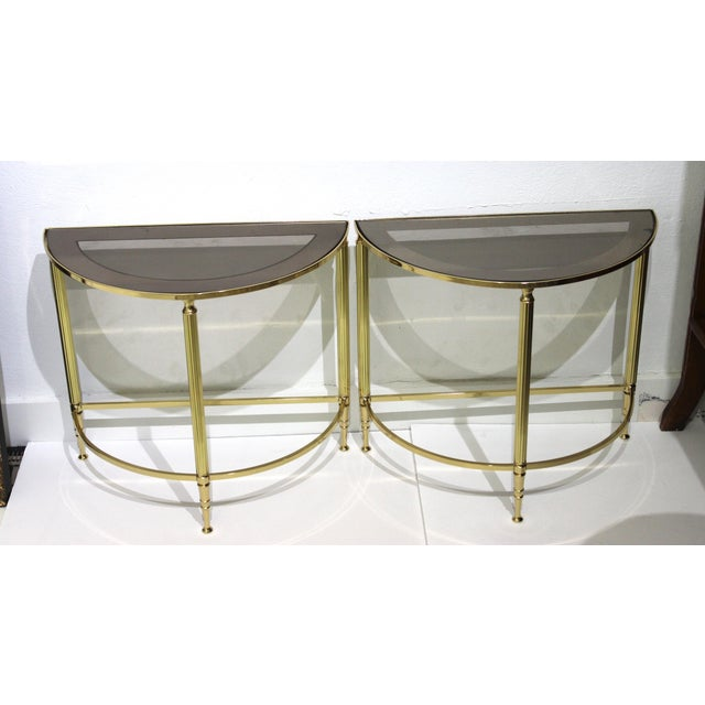 Mid-Century Modern Demi-Lune Drinks or Side Tables Brass and Smoked Glass - a Pair For Sale - Image 13 of 13