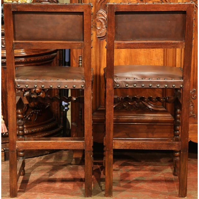 Brown 19th Century French Louis XIII Walnut Bar Stools - A Pair For Sale - Image 8 of 9
