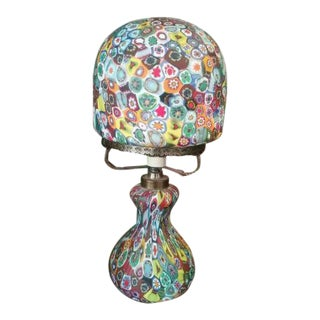 Vintage Millefiori Murano Glass Mushroom Art Lamp Toso Fratelli Italy For Sale