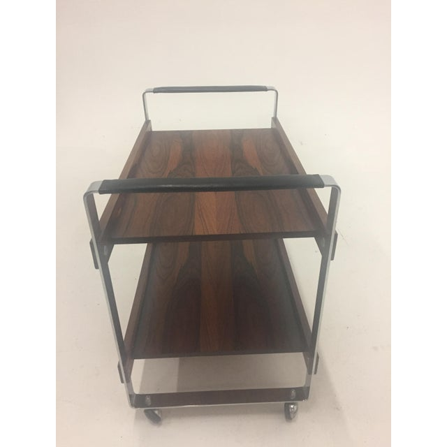 Mid-Century Modern Mid Century Modern Rosewood and Chrome Bar Cart For Sale - Image 3 of 11