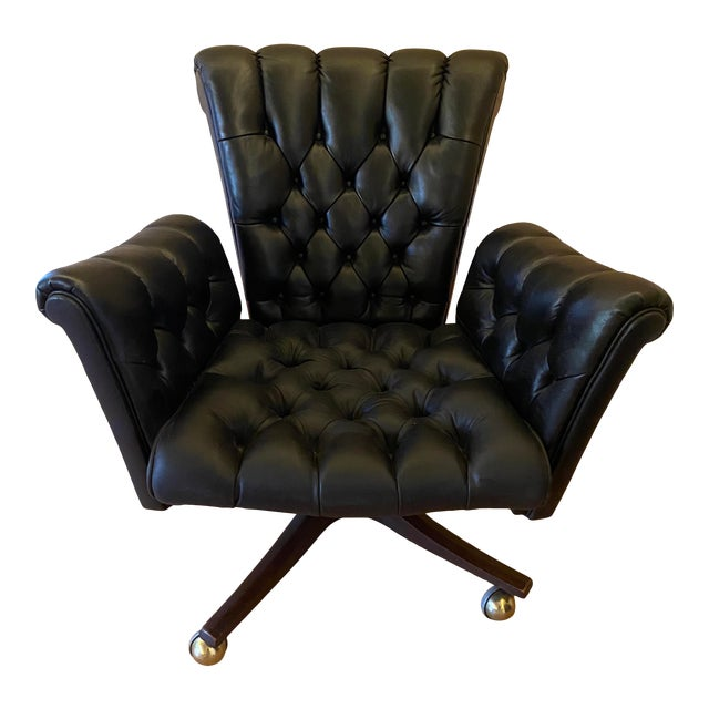 Edward Wormley Leather Desk Chair For Sale