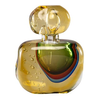 Amber Colored Murano Glass Sommerso Perfume Bottle For Sale