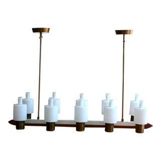 Linear Teak and Brass Chandelier with Milk Glass Shades by Maison Arlus For Sale