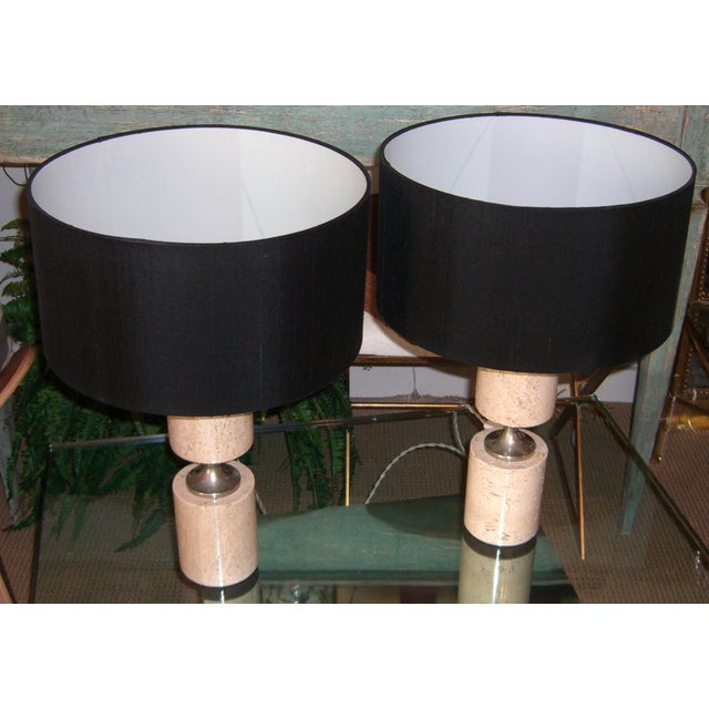 Modern Pair of Travertine and Nickel Table Lamps Attributed to Maison Barbier For Sale - Image 3 of 6