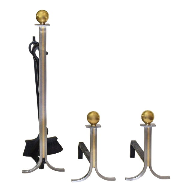 1950s French Brushed Steel and Brass Fireplace Andiron Set - 5 Pieces For Sale