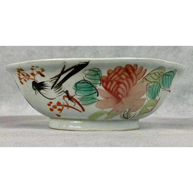 Pink Chinese Porcelain Bowl With Flowers and Poem on the Reverse For Sale - Image 8 of 8