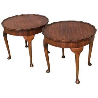 19th Century Walnut Fleur Top Side Salon Tables - a Pair For Sale