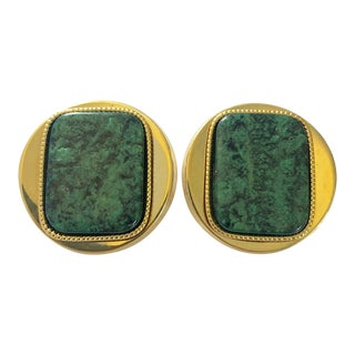 Vintage Round Gold Clip on Earrings With Green Faux Malachite Style Center Stone - a Pair For Sale