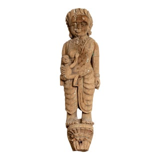 Hand Carved Indian Temple Carving Statue from Gujarat Depicting Mother and Child For Sale
