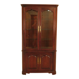 Thomasville Beveled Glass Cherry Corner Cabinet