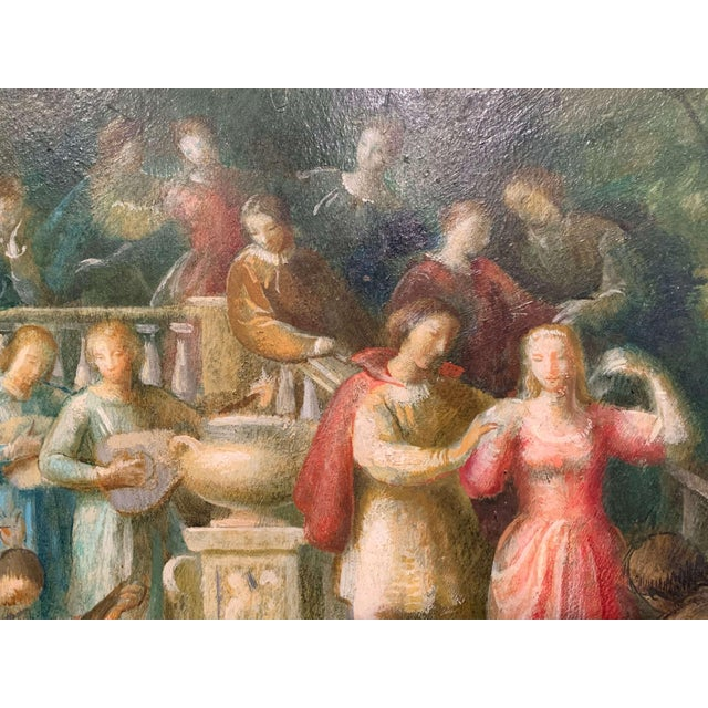 Figurative 19th Century Spanish Serenade Painting on Board in Original Carved Frame For Sale - Image 3 of 9