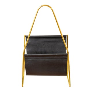 Leather and Brass Magazine Rack by Carl Aubock For Sale