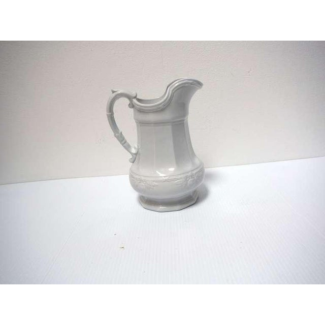 19th Century Ironstone Pitcher with Fig Leaf Pattern For Sale - Image 4 of 6
