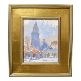 Gary Roberts Balboa Park Tower Mission Architecture Framed Painting For Sale