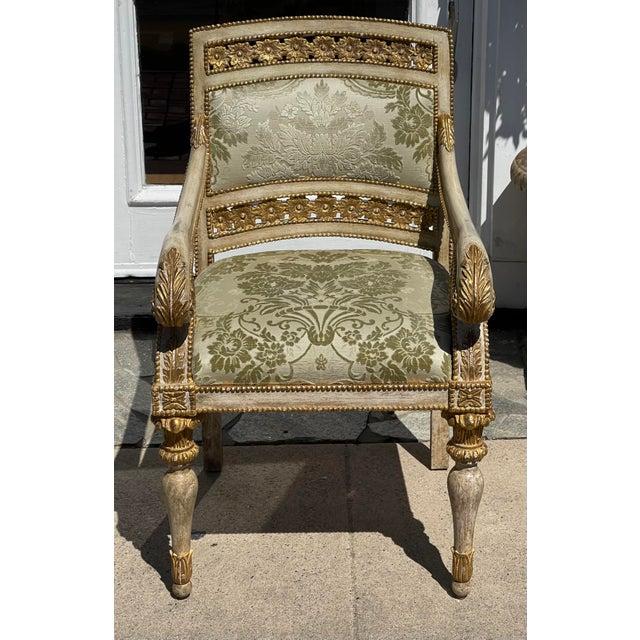 Quatrain Piedmontese Style Pierced Carved Armchair