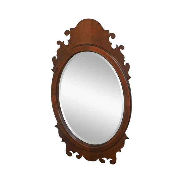 Victorian Style Cherry Oval Beveled Wall Mirror For Sale