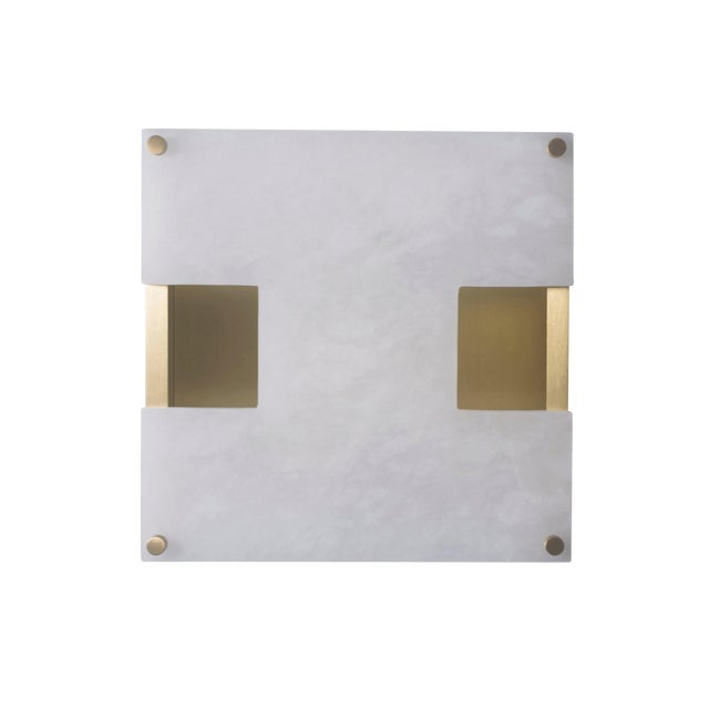 Modern Contemporary 002a Sconce in Brass and Alabaster by Orphan Work For Sale