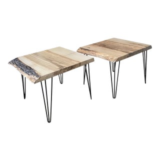 Organic Modern Live Edge Silver Maple End Tables - a Pair For Sale
