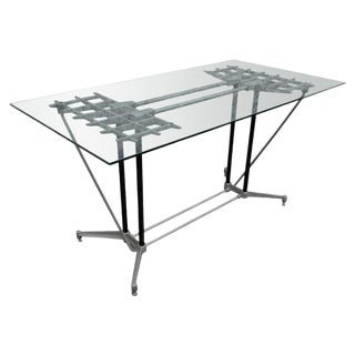 Robert Josten Aluminum Grid Desk & Chair For Sale