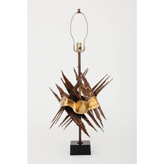 Tom Greene Large 1970s Brutalist Metal Lamp Attributed to Tom Greene For Sale - Image 4 of 6
