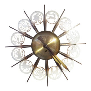 Bronze Mid-Century German Zodiac Themed Wall Clock For Sale