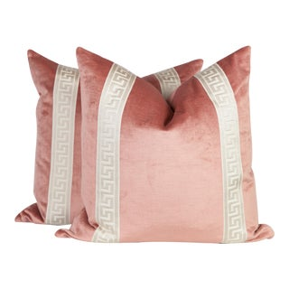 Blush Pink Velvet Greek Key Pillows, a Pair For Sale