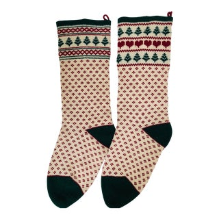 Vintage Wool Christmas Stockings - a Pair For Sale