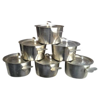 WWI French Tin Over Iron Mini Ramekins - Set of 6