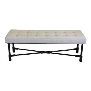 Black Lacquered & Chenille Bench
