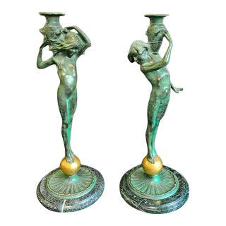 Sprites with Amphorae' by Edward McCartan (1879-1947 USA) Bronze Sculptures Circa 1920s - a Pair For Sale