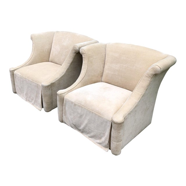 Modern Upholstered Lounge Chairs- A Pair For Sale