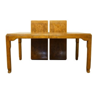 20th Century Chinoiserie Century Furniture Inspired Burled Wood Dining Table For Sale