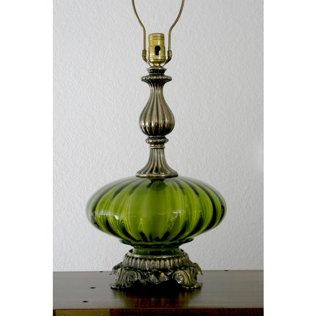 Art Nouveau Vintage Green Glass Nightlight Table Lamps - a Pair For Sale - Image 3 of 7