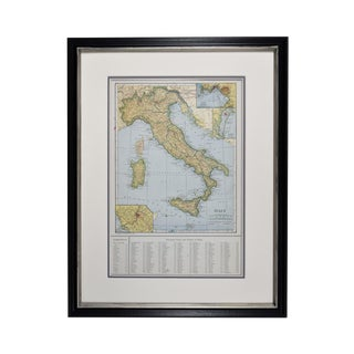 1920s Vintage Framed Map of Italy Print For Sale