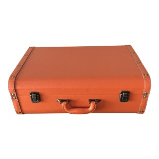 Orange Leather Suitcase For Sale