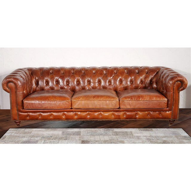Pasargad Genuine Leather Chester Bay Tufted Sofa - Image 2 of 4