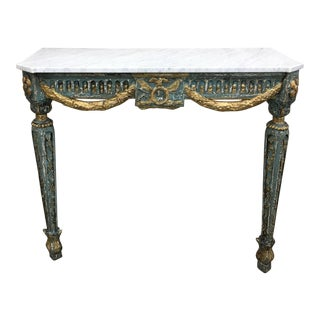 19th C French Marble Top Painted Console Table For Sale