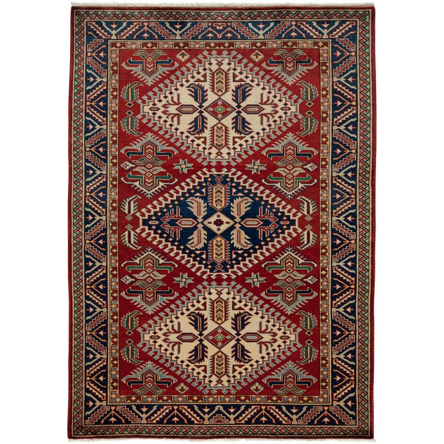"New Traditional Hand Knotted Area Rug - 4'4"" x 6' - Image 1 of 3"