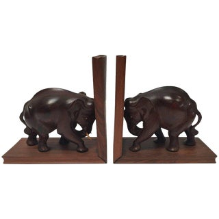 Hand-Carved Wooden Elephant Bookends, Circa 1950 For Sale