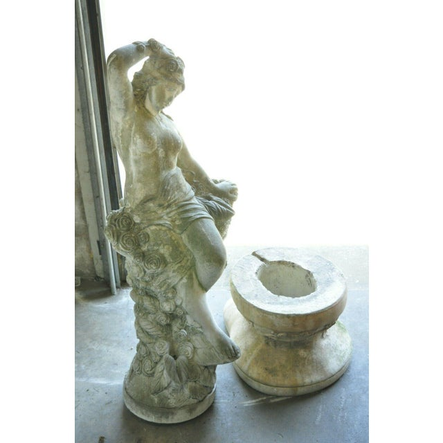 Vintage Massarelli Concrete Garden Patio Water Fountain Woman With Basket For Sale - Image 12 of 13