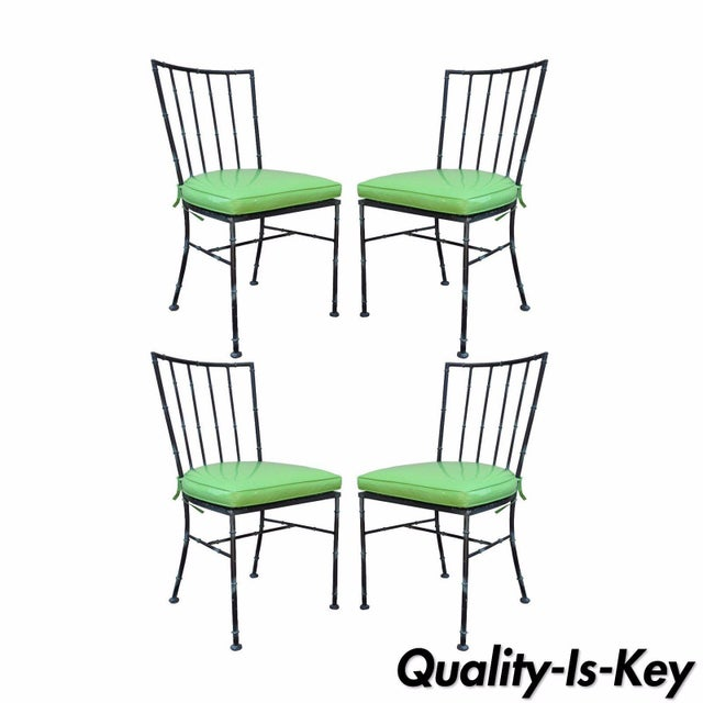 4 Vintage Mid Century Modern Hollywood Regency Metal Faux Bamboo Dining Chairs - Image 11 of 11