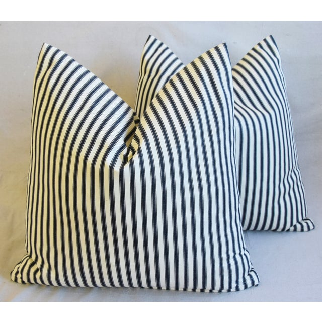 """French Black & White Striped Ticking Feather/Down Pillows 23"""" Square - Pair For Sale - Image 9 of 10"""