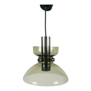 1970s Glass and Chrome Pendant Lamp by Glashütte Limburg, Germany For Sale