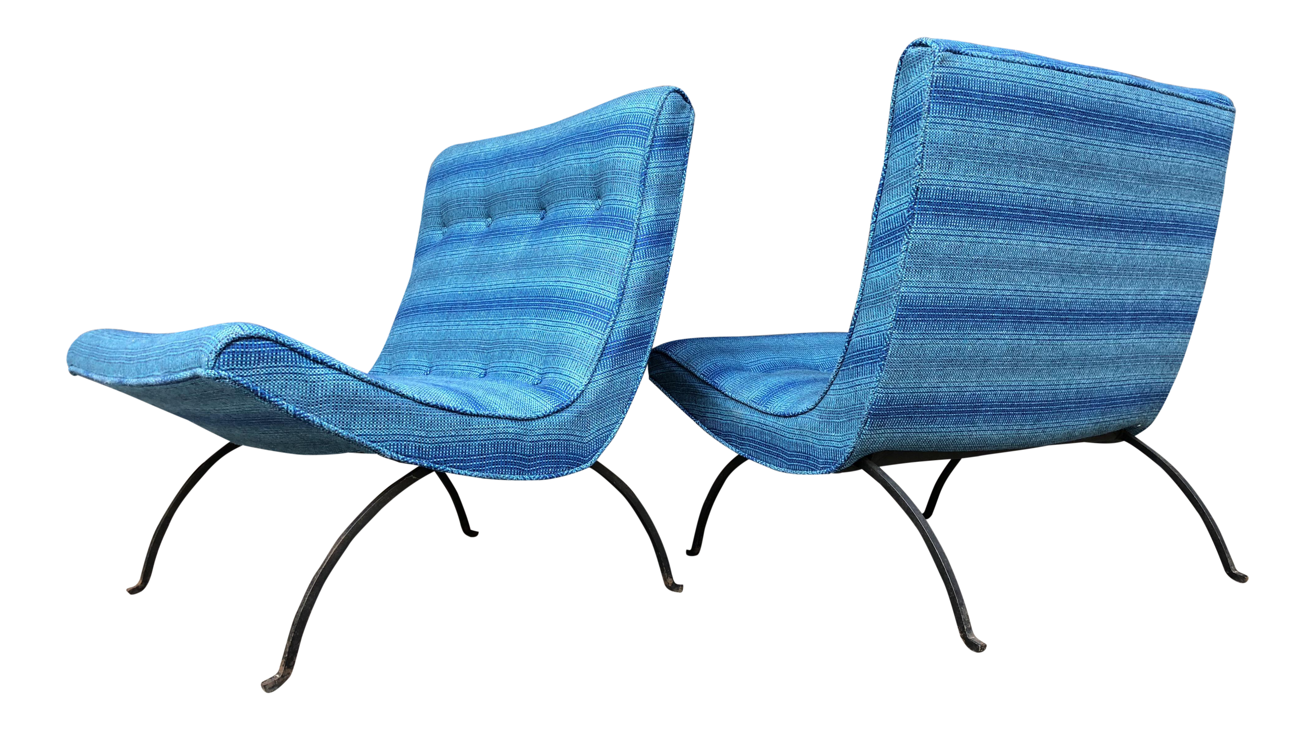 Mid Century Modern Original Milo Baughman Scoop Lounge Chairs Retro Blue  Wrought Iron Pair Of Chairs